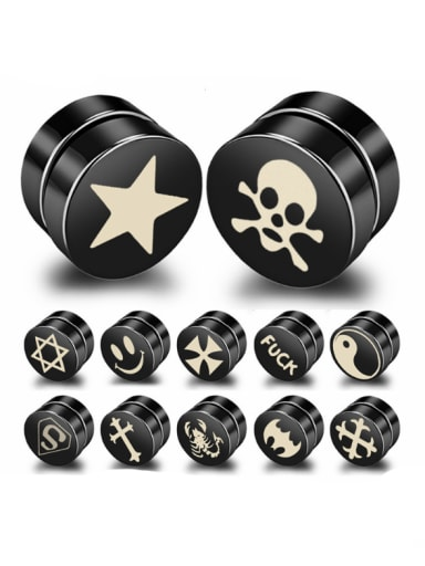 Stainless Steel With Black Gun Plated Personality Geometric Stud Earrings
