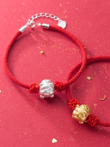 925 Sterling Silver With Gold Plated Cute Animal pig Woven & Braided Bracelets