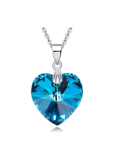 Fashion Blue Heart Swarovski Crystal 925 Silver Pendant