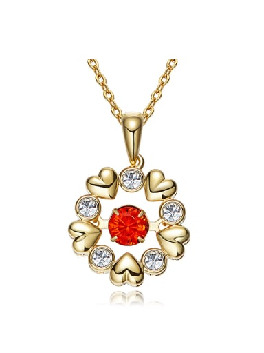 Fashion Rotational Red Swarovski Crystal Flowery Pendant Copper Necklace