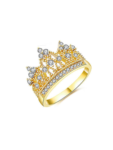 Luxury Gold Plated Crown Shaped Zircon Ring