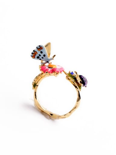Colorful Enamel Butterfly Alloy Statement Ring