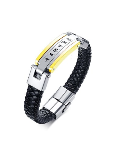 Personality Geometric Shaped Artificial Leather Scripture Bracelet