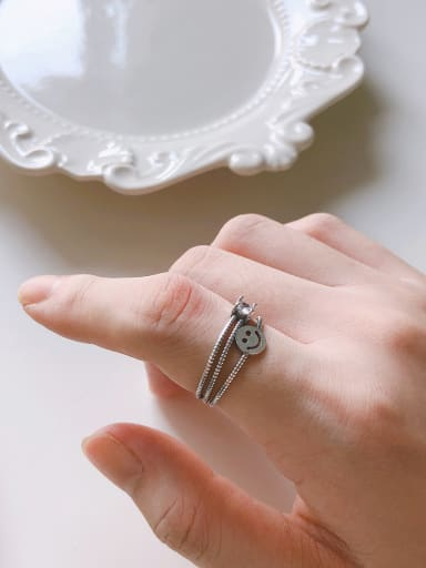 Copper With Antique Silver Plated Vintage Round  Free Size Rings