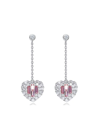 Fashion Heart Swarovski Crystals-covered 925 Silver Stud Earrings