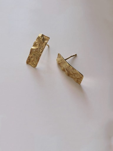925 Sterling Silver With Gold Plated Simplistic Square Stud Earrings