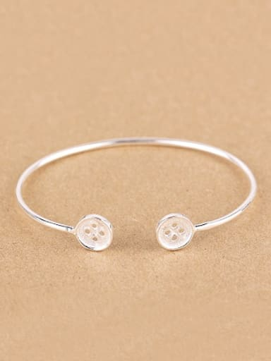 Little Button Silver Opening Bangle