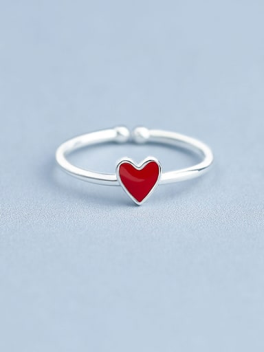 Simple Red Heart shaped Silver Opening Ring