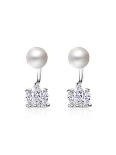 Fashion Little Zirconias Crown Imitation Pearl Stud Earrings