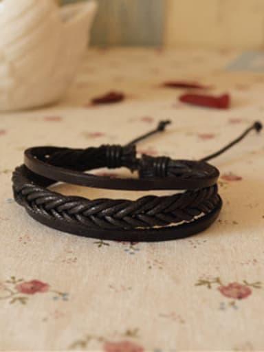 Men Adjustable Length Cownhide Leather Bracelet
