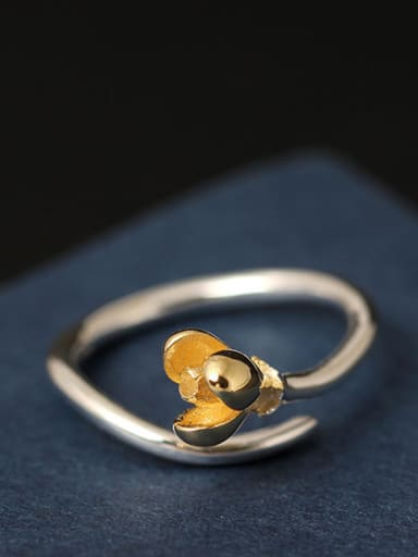 Small Flower S925 Silver Opening Ring