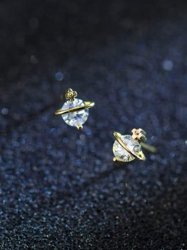 Sterling silver Mini zircon gold star stud earrings (imagine starry sky)