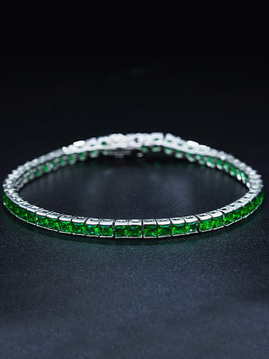 Green Square Zircon Bracelet