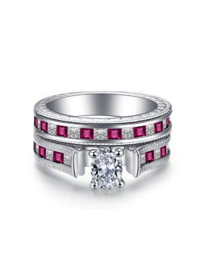 Luxury Zircons Double Layer Copper Ring