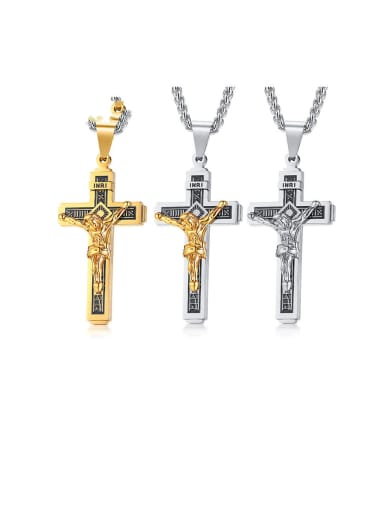 Stainless Steel With Two-color plating Personality Cross Necklaces