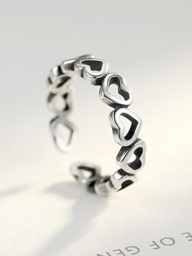 Pure silver retro love free size ring