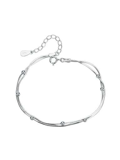 Simple Tiny Beads Double Layer 925 Silver Bracelet