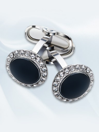 Round-shaped Rhinestone Cufflinks