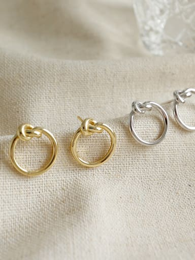 Sterling Silver simple rope ear studs earring
