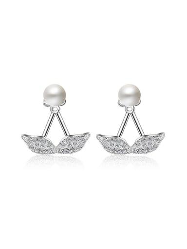 Fashion Little Zirconias Leaves Imitation Pearl Stud Earrings