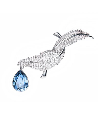 Leaf-shaped Swarovski Crystal Brooch