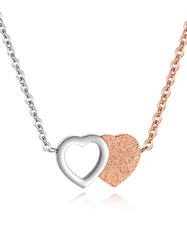 Stainless Steel With Rose Gold Plated  Trendy  frosted Heart Necklaces