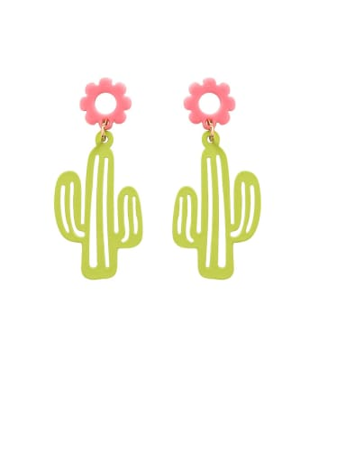 Alloy With Platinum Plated Simplistic Cactus Flower Drop Earrings
