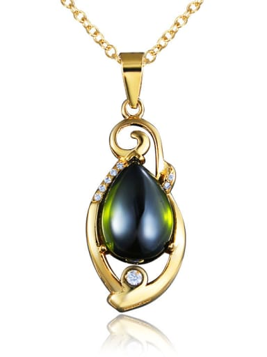 Noble 18K Gold Plated Green Opal Necklace