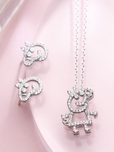 S925 Silver Pig Peggy Diamonds Necklace Earrings Two Piece