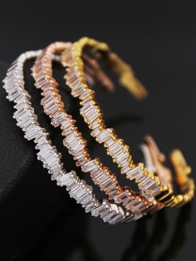 Copper inlay 3A zircon Sparkles rectangular irregular C-shaped bracelet