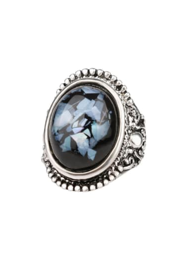 Retro style Oval Resin Antique Silver Plated Alloy Ring