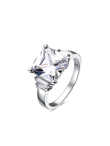 Women All-match Square Shaped Zircon Ring