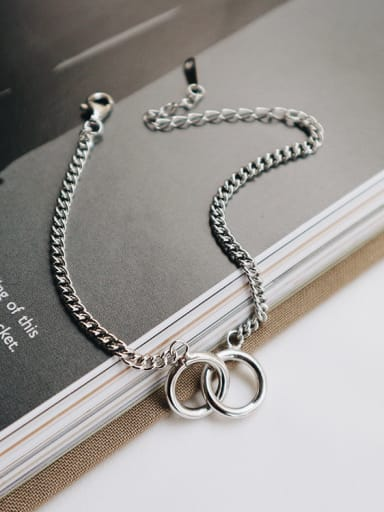 Sterling silver double ring retro minimalist style bracelet