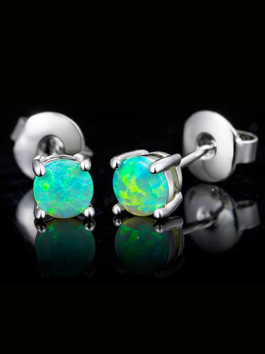 Green Round stud Earring