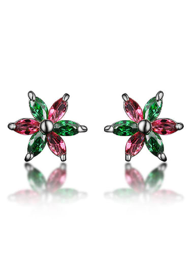 Little Double Color Flower Marquise Zirconias 925 Sterling Silver Stud Earrings