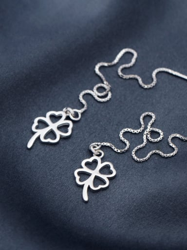 S925 Silver Fashion Clover Drop threader earring