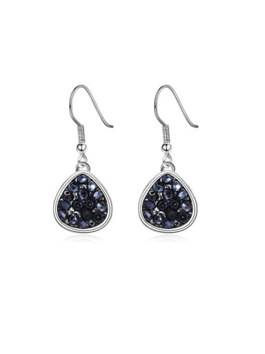 Trendy Black Water Drop Shaped Rhinestones Earrings