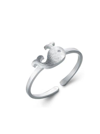 Matt Dolphin Pattern Silver Opening Ring