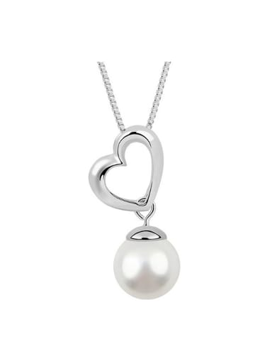 Simple Hollow Heart Imitation Pearl Pendant Alloy Necklace