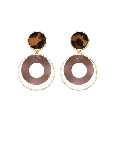 Alloy With Rose Gold Plated  Retro leopard print Geometric Drop Earrings