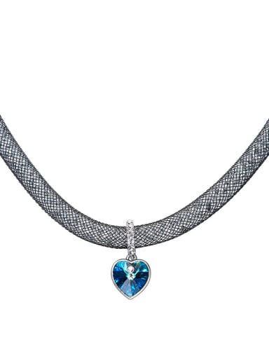 Fashion Heart shaped Swarovski Crystal Copper Necklace