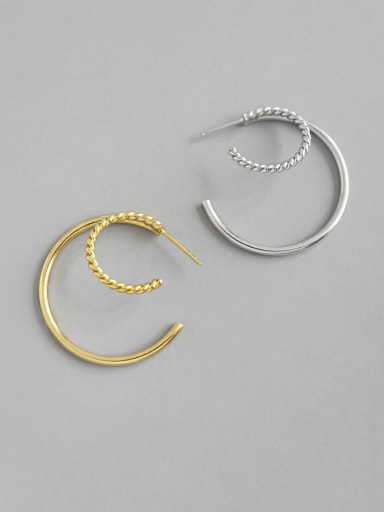925 Sterling Silver With  Simplistic Double-Layer   Round Twist Hoop Earrings