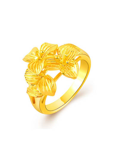 Exquisite 24K Gold Plated Flower Shaped Copper Ring