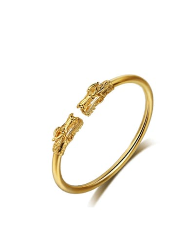 Copper Alloy 24K Gold Plated Retro style Dragon Head Opening Bangle