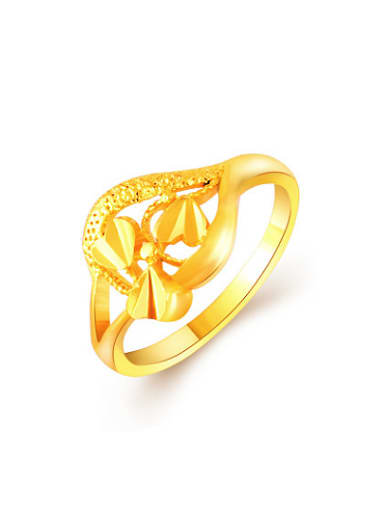 Women Exquisite 24K Gold Plated Heart Shaped Copper Ring