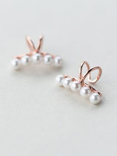 Elegant Geometric Shaped S925 Silver Shell Clip On Earrings
