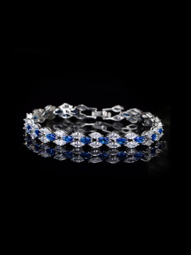 Irregular Zircons Platinum Plated Bracelet