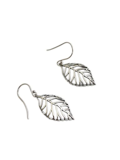 Personalized Hollow Leaf Antique Silver Plated Earrings