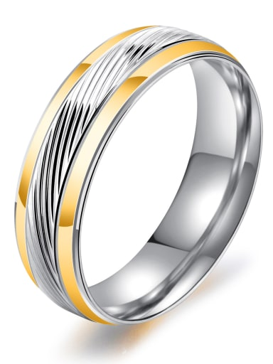 Stainless Steel With Gold Plated Simplistic Round Rings