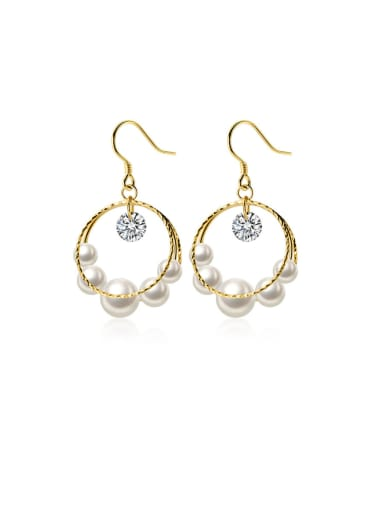 925 Sterling Silver With Artificial Pearl Fashion Round Hook Earrings